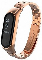 Ремешок для Xiaomi Mi Band 3 Metal Big Rose Gold